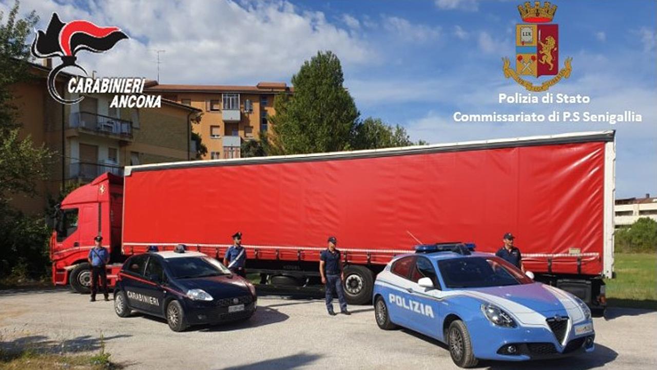 Il mezzo pesante bloccato a Senigallia da carabinieri e poliziotti al termine di un inseguimento