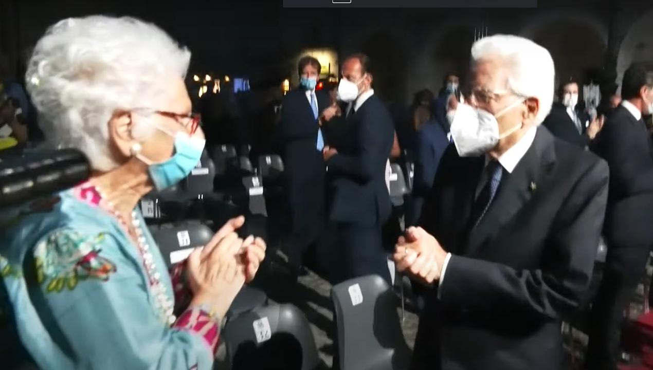 Il Capo dello stato Mattarella con la senatrice a vita Liliana Segr