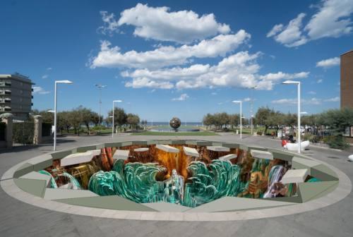 Pesaro, una voragine in piazzale della Libertà: è l'opera 3d più grande d'Italia omaggio a Rossini