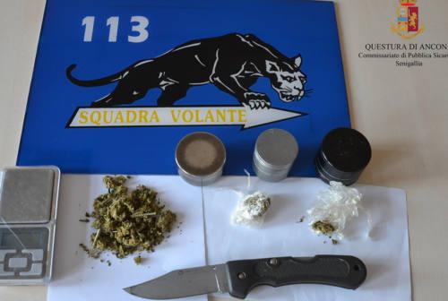 In giro con droga e coltello, una denuncia a Senigallia