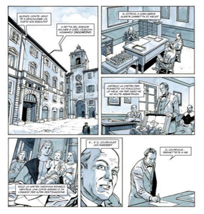 """La storia a fumetti """"Sherlock Holmes e il caso della Madonna di Senigallia"""" compare nel catalogo della mostra """"Sherlock Holmes Story"""" nell'ambito del festival Ventimilarighesottoimari inGiallo"""