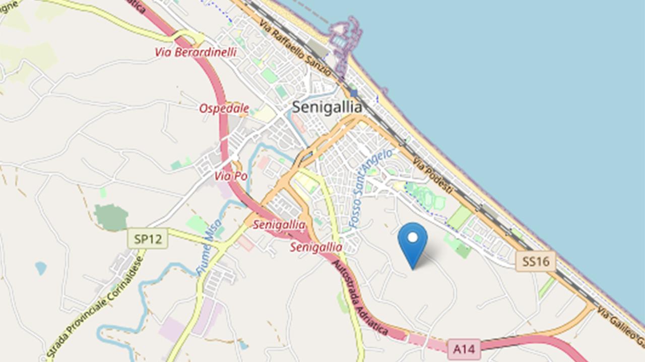 La mappa del terremoto del 17 agosto avvenuto a Senigallia, elaborata dall'Ingv