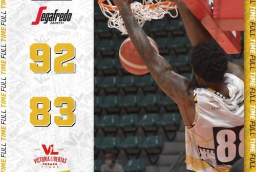 Basket, per la VL Pesaro buon test a Bologna: la Virtus vince 92-83
