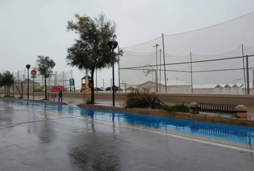 Pioggia e vento spazzano la città di Senigallia: rami a terra e una piccola frana